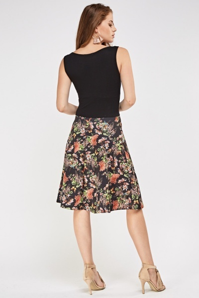 Flower Print Bodice Skater Dress