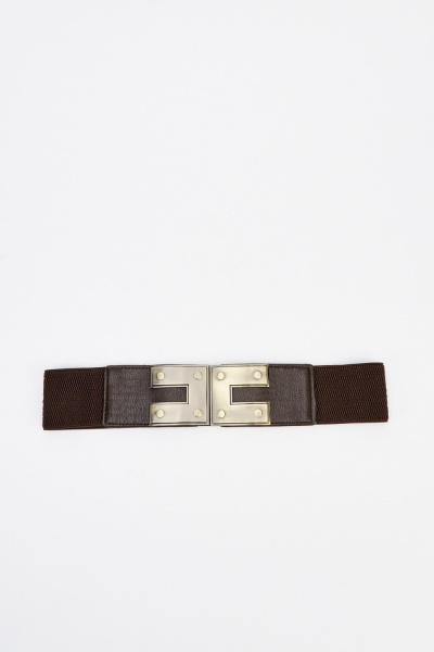 Gold Tone Buckle Elastic Belt