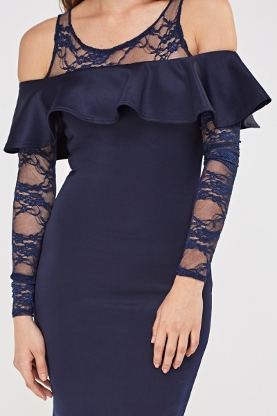 Lace Insert Frilled Midi Dress