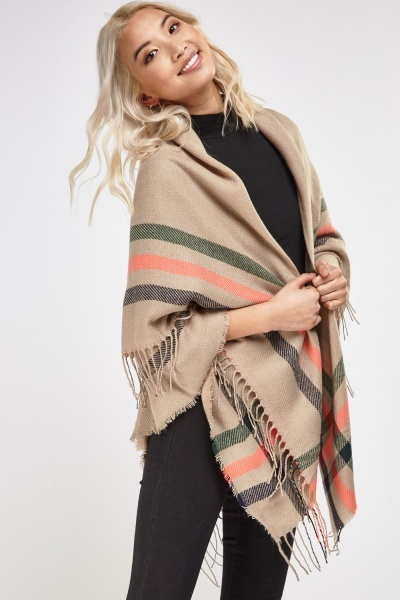 Fringed Trim Knitted Casual Scarf