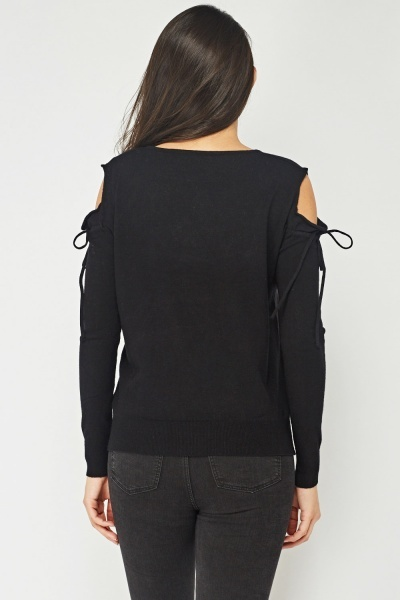 Cut Out Shoulder Embroidered Top