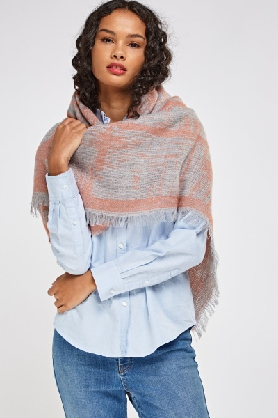 Knitted Fringed Trim Scarf
