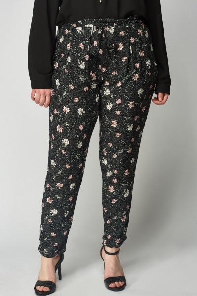 Black Floral Light Weight Trousers