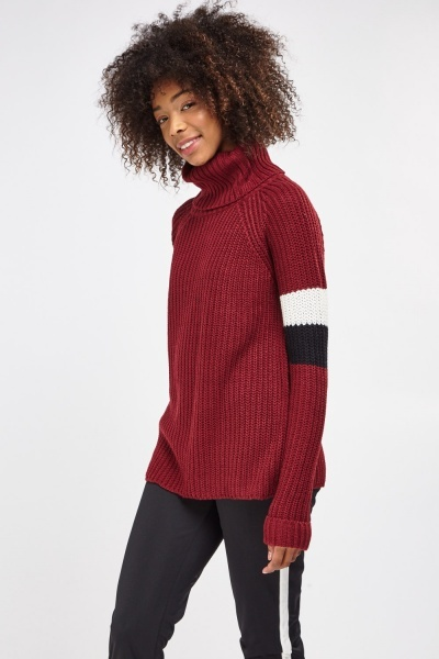 Cable Knit Roll Neck Striped Sleeve Jumper