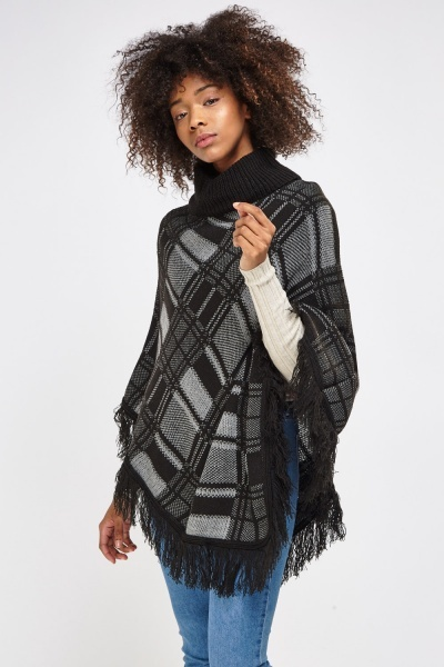 Checked Knitted Fringed Roll Neck Poncho
