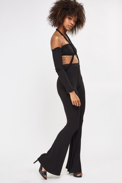 Crop Cold Shoulder Top And Trousers Set