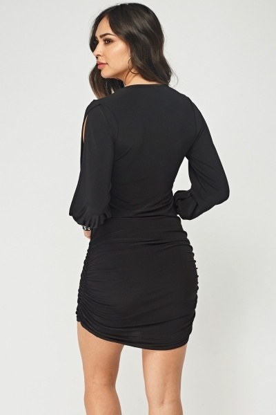 Encrusted Cuff Ruched Dress