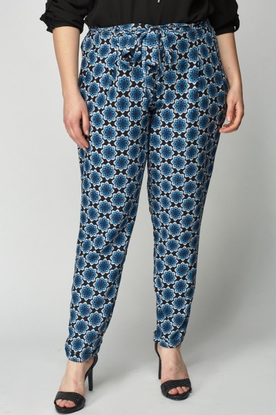 Flower Print Blue Light Weight Trousers