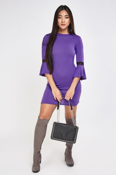 Flare Sleeve Basic Bodycon Dress