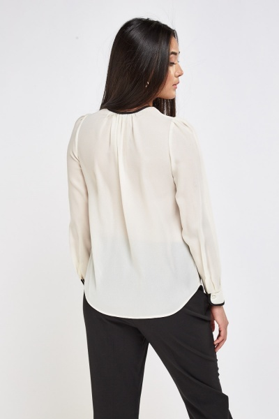 Sheer Contrast Blouse