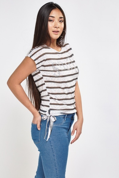 Studded Smile Striped Top