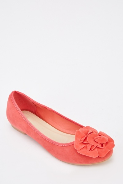 3D Flower Suedette Ballet Pumps
