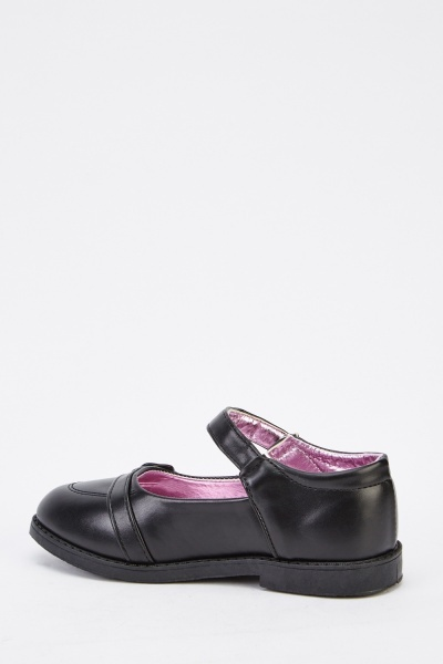 Faux Leather Detailed Girls Shoes