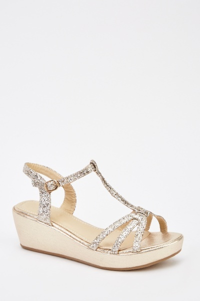 Glittered Wedged Sandals