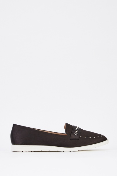 Sateen Studded Slip On Shoes