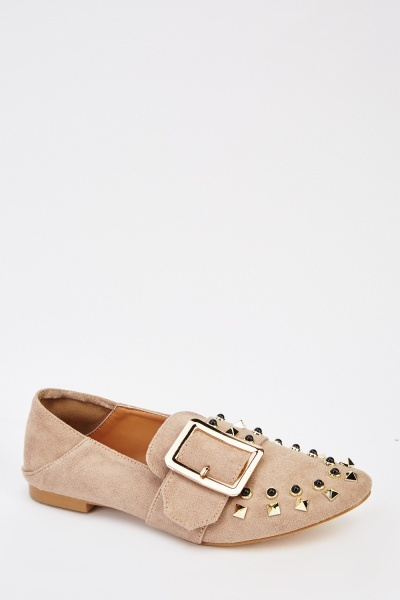 Studded Front Suedette Shoes