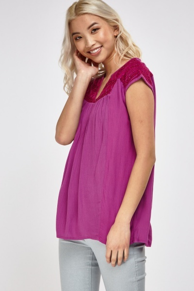 Beaded Front Sleeveless Top