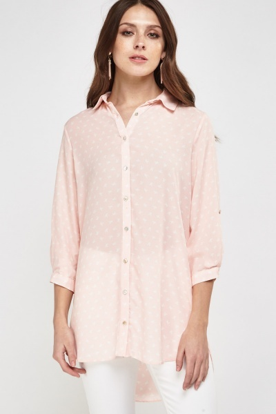 Bird Printed Long Sheer Shirt