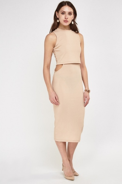 Cut Out Side Ribbed Overlay Dress