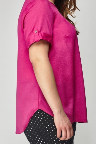 Fuchsia Rolled Sleeve Top