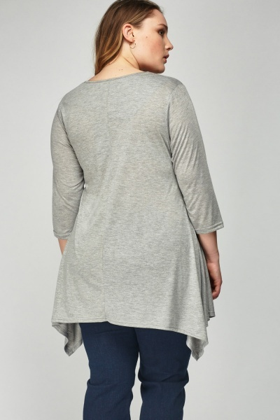 Grey Asymmetric Twin Pocket Top