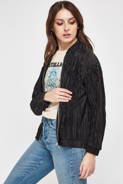 Pleated Light Weight Bomber Jacket