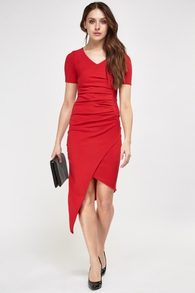 Ruched Front Asymmetric Dress