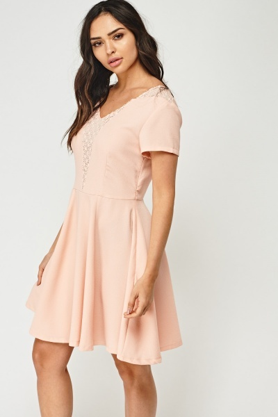 Crochet Trim Textured Swing Dress