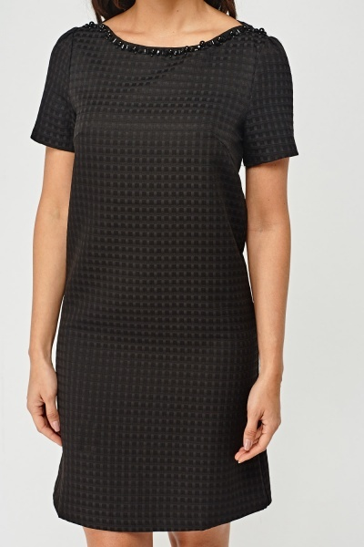 Embellished Neck Textured Shift Dress