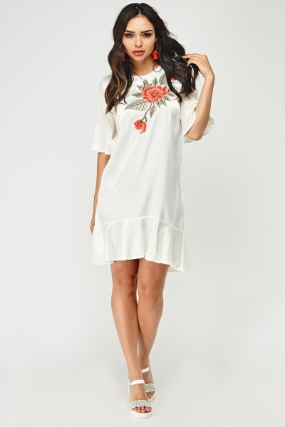 Embroidered Front Sateen Dress