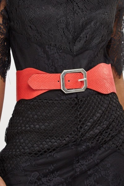 Faux Leather Wide Textured Belt