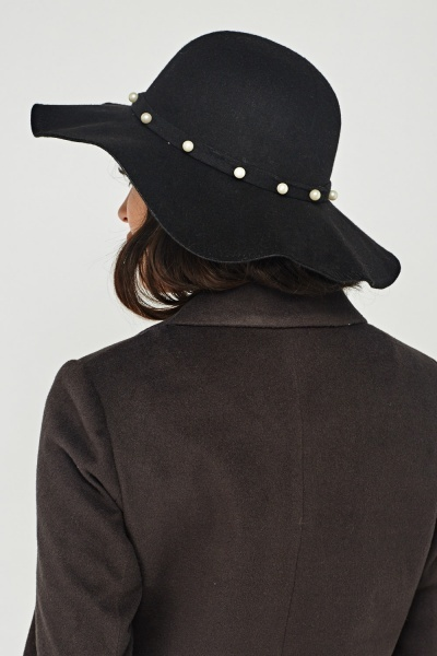 Faux Pearl Trim Felt Floppy Hat