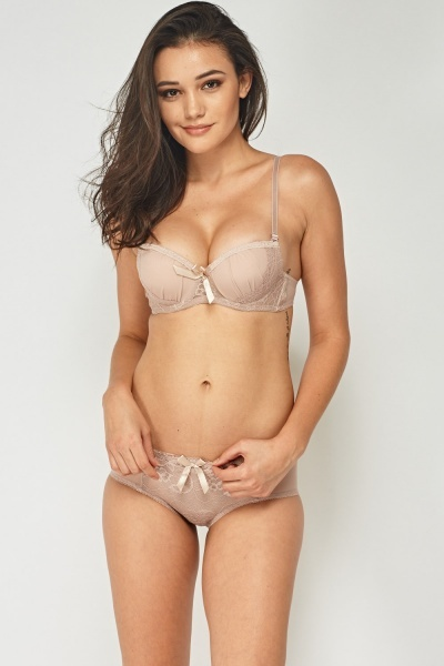 Lace Insert Push Up Balconete Bra Brief Set