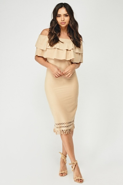 Laser Cut Hem Fleece Dress