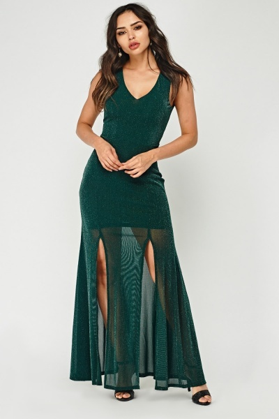 Metallic Insert Cut Out Back Maxi Dress
