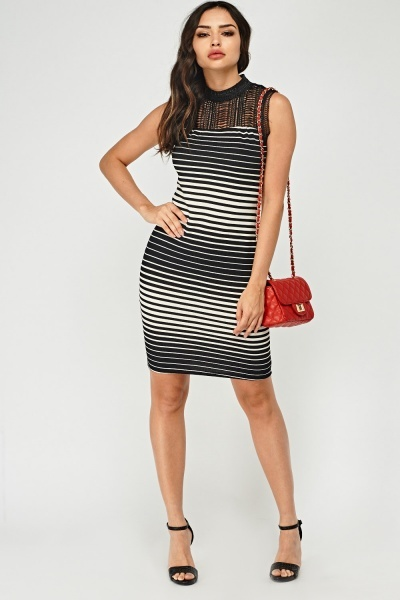Striped Contrast Textured Dress