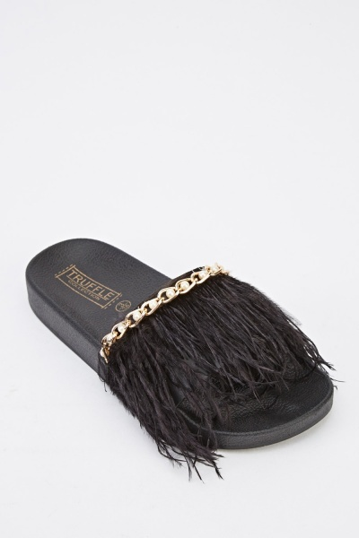 Black Feather Strap Sliders