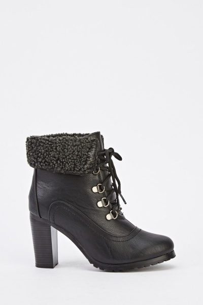 Block Heel Faux Leather Boots