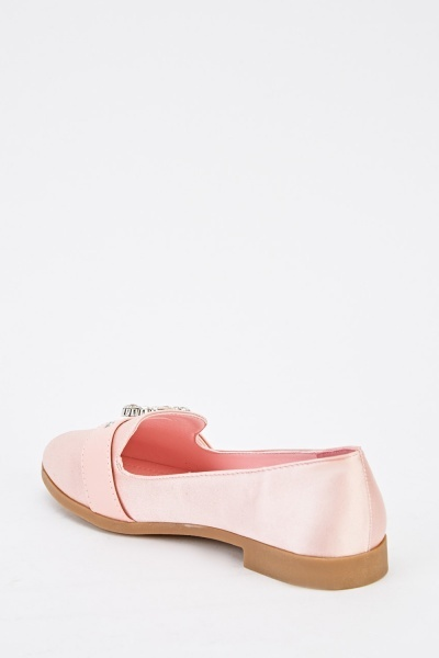 Buckle Detail Sateen Loafers