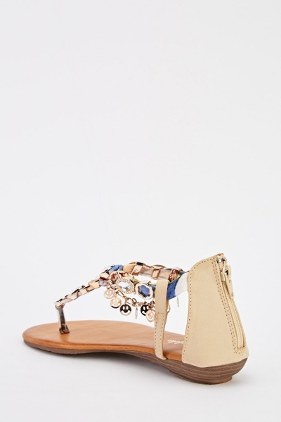 Chain Detail Embellished Flip Flop Sandals