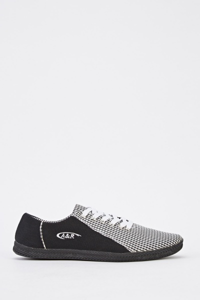 Checked Contrast Low Top Mens Trainers