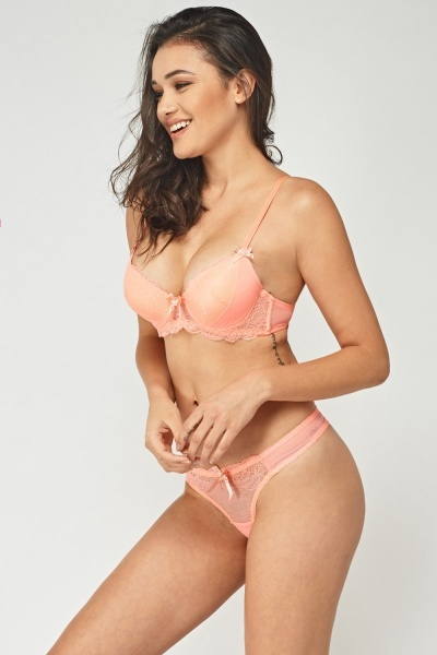 Coral Mesh Overlay Bra And Brief Set