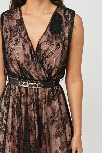 Lace Overlay Belted Swing Dress