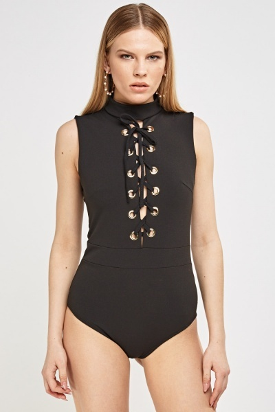Lace Up Front High Neck Bodysuit