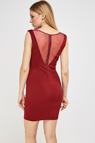 Mesh Insert Encrusted Bodycon Dress
