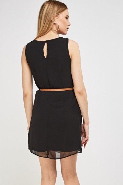 Mesh Overlaid Belted Dress