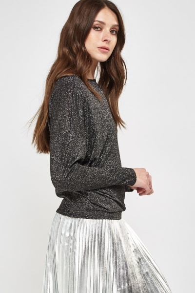 Metallic Insert Batwing Top