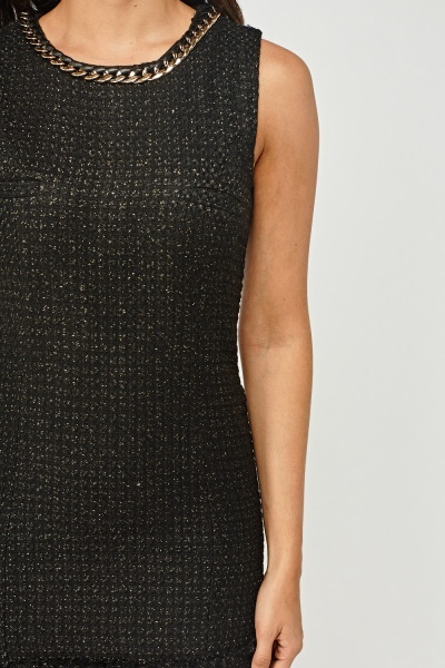 Metallic Insert Tweed Dress