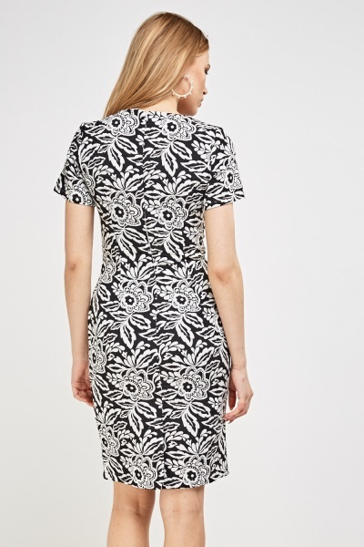Mono Printed Pencil Dress
