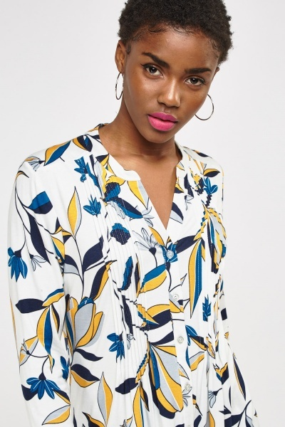 Pleated Panel Mixed Print Top